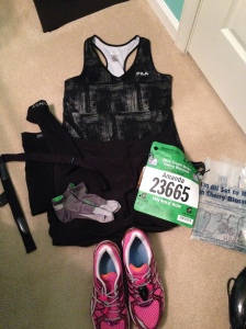 What I wore.  2014 Cherry Blossom 10 Miler
